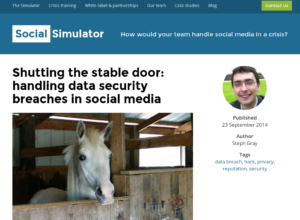 Shutting the stable door: handling data security breaches in social media thumbnail image