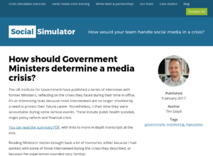 How should Government Ministers determine a media crisis? thumbnail image