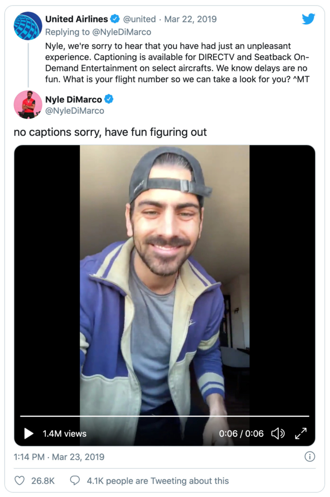 Tweet from NyleDiMarco to United Airlines highlighting problems with no captions on video