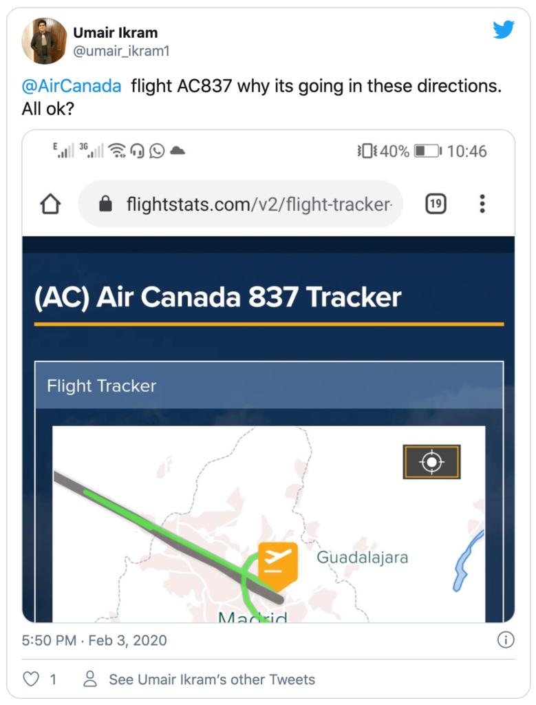 Tweet from umair_ikram1 querying AC837 flightpath