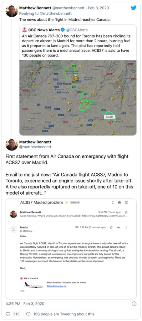 Tweet from matthewbennett showing an email response from Air Canada regarding flight AC837