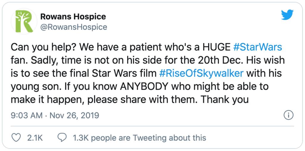 Tweet from RowansHospice seeking help for a patient