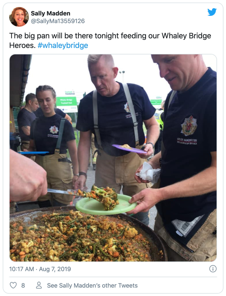 Tweet from SallyMa13559126 about feeding the 'Whaley Bridge Heroes'