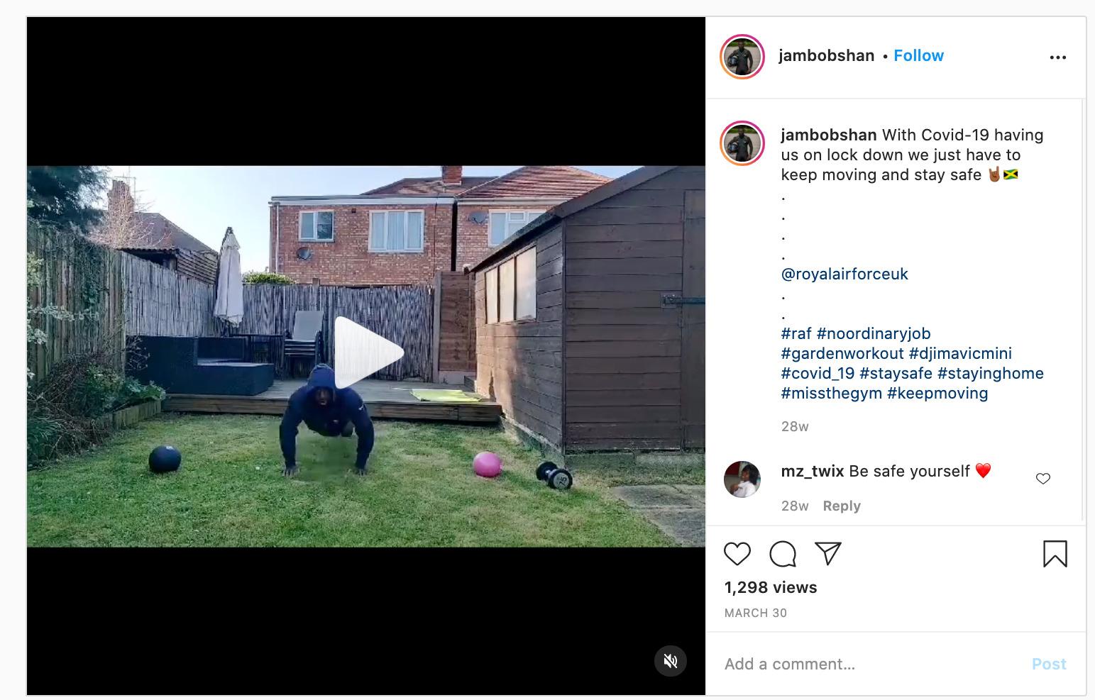 Screenshot of Instagram post