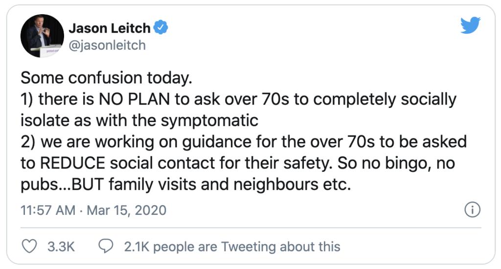 Tweet from Jason Leitch