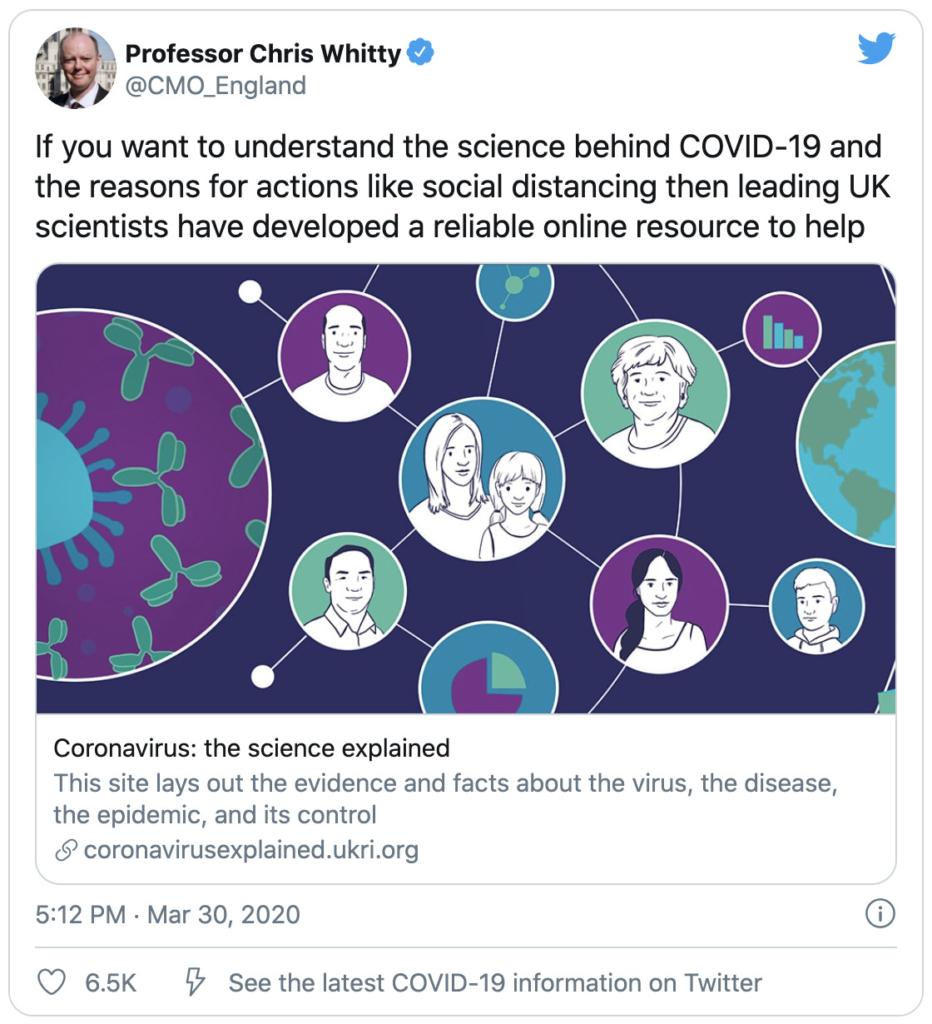 Tweet from Professor Chris Witty