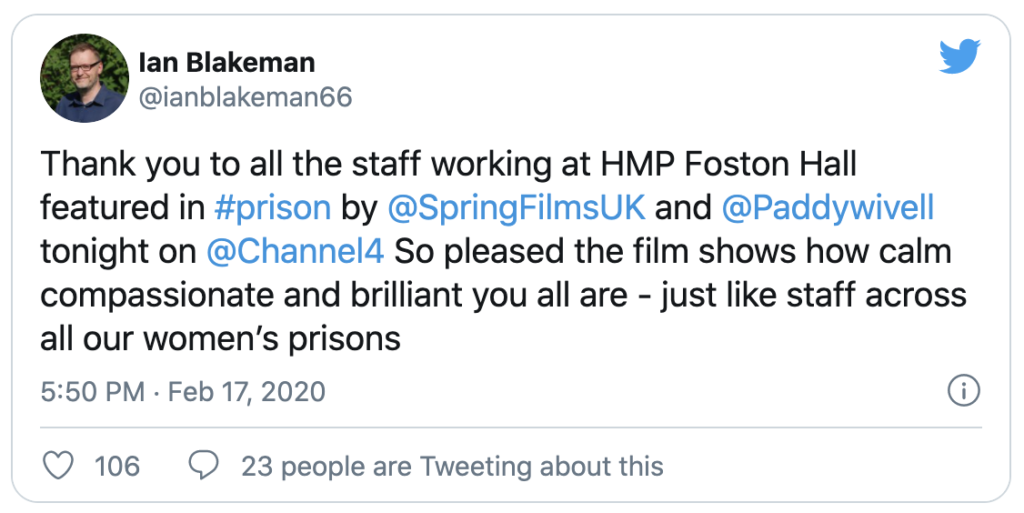 Tweet from Ian Blakeman