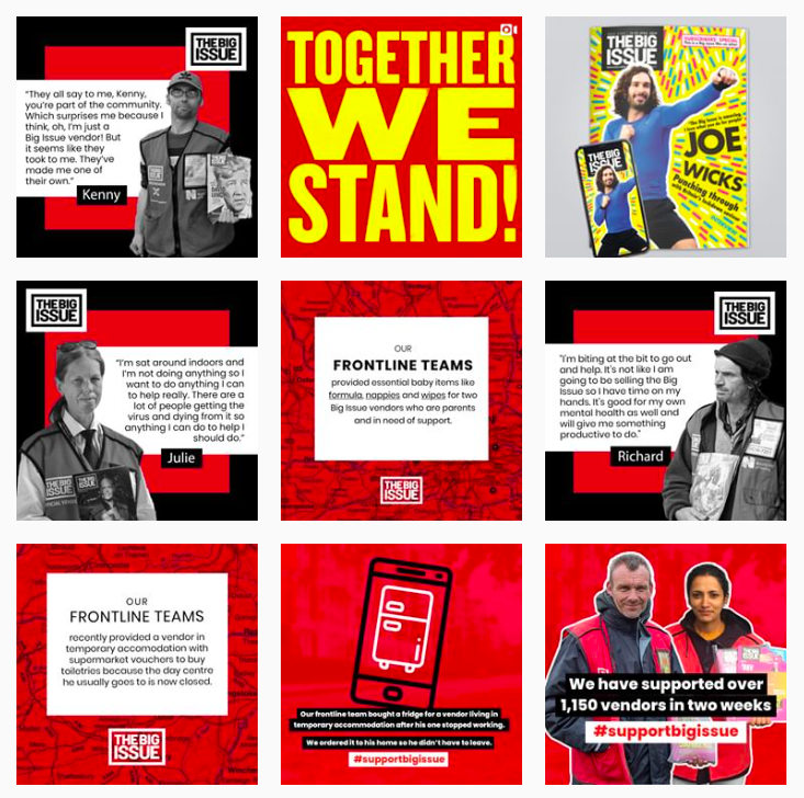 screenshot of the big issue instagram account