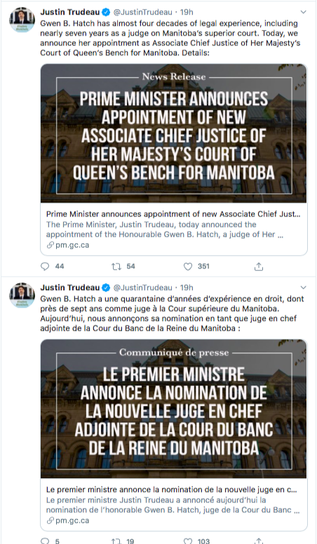 screenshot of Justin Trudeau's tweets one in French one in English