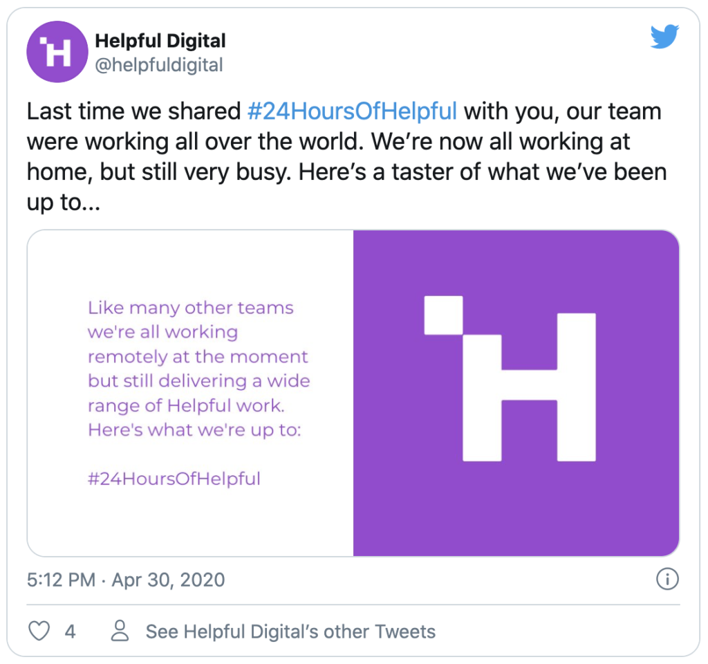 Tweet from HelpfulDigital for #24HoursOfHelpful