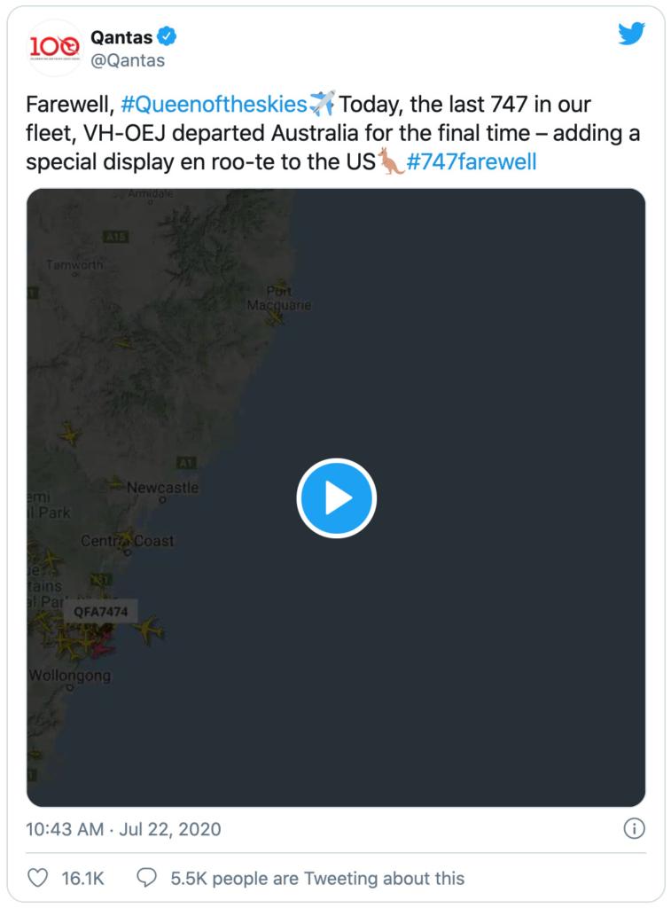 Tweet from Qantas about the last 747 flight