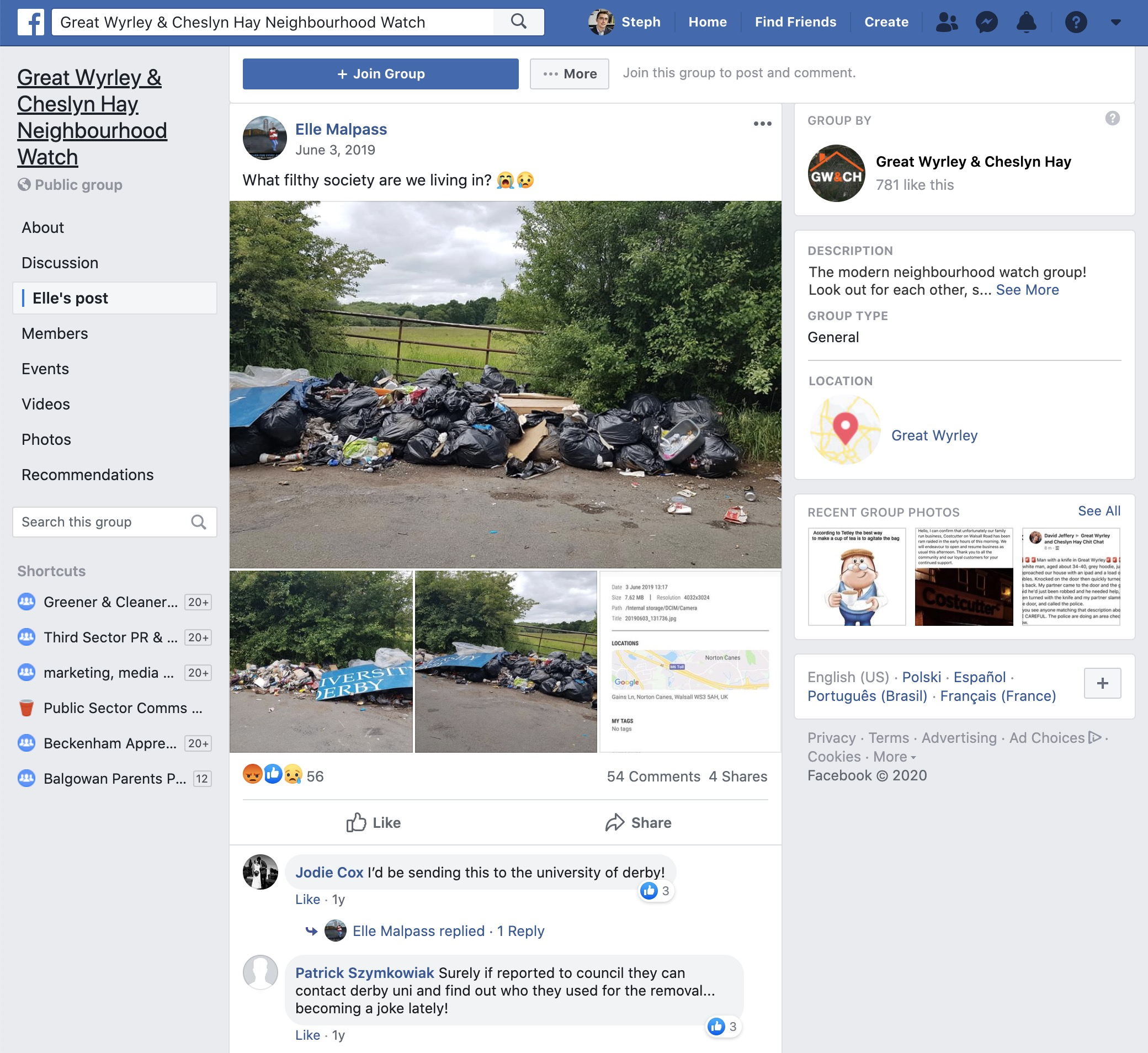 Facebook group - flytipping issue