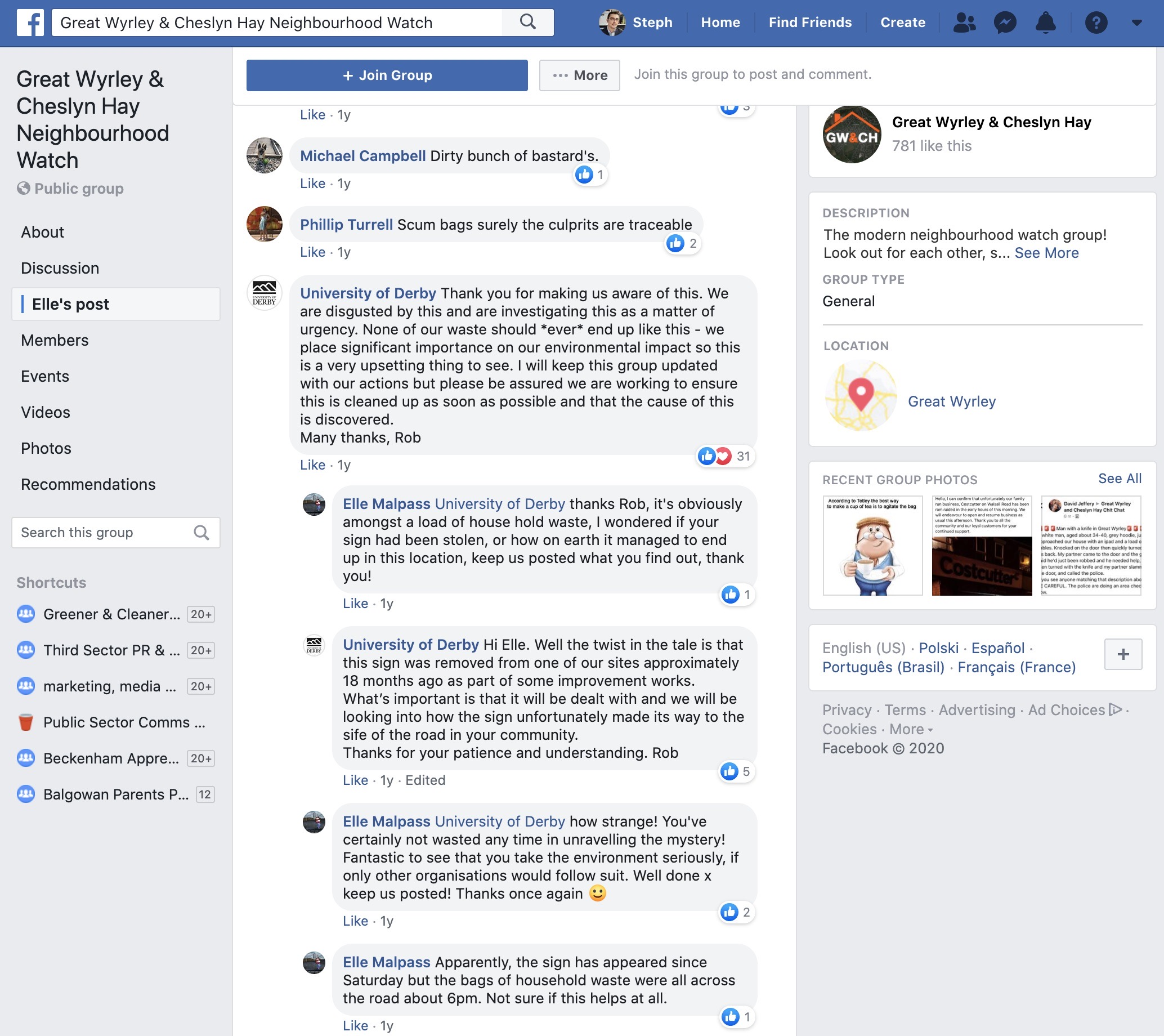 Facebook group - response to flytipping