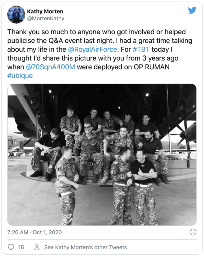 Tweet from one of the RAF 'StoryTellers' MortenKathy