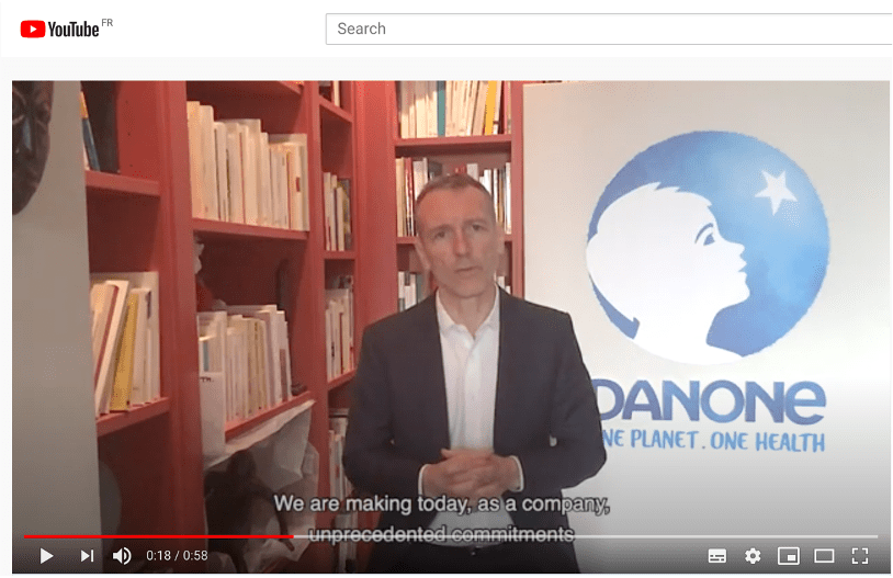 E Faber of Danone giving crisis response on youtube